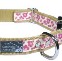 DOG COLLAR - CLASSIC ANIMAL PRINT LEOPARD PINK (RIBBON 16mm)